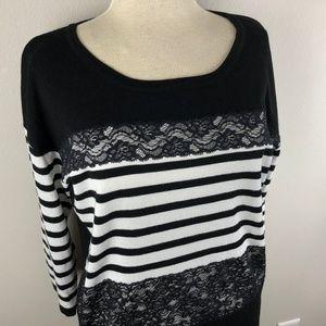 Roz & Ali 3/4 Sleeve Knit Blouse Size L
